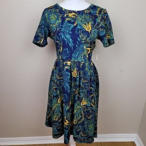 LuLaRoe Blue Yellow Abstract Floral Amelia Large